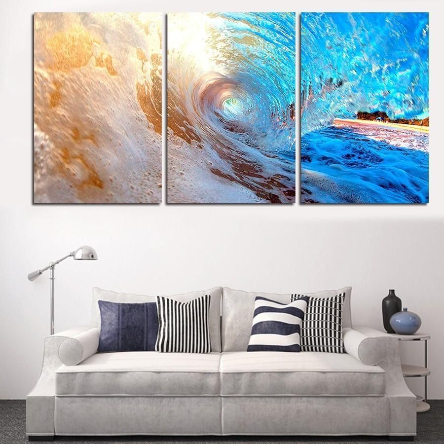 16 Absolutely Gorgeous Mediterranean Dining Room Designs: Make Waves With This 3 Piece, Big Wave, Ocean Canvas Set