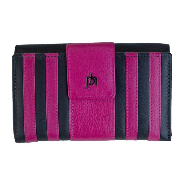 Prime Hide Rio Stripes Leather Purse lovely striped design Colours available Black Berry Green Lime Purple Fuscia Tab opening 10 Credit card slots