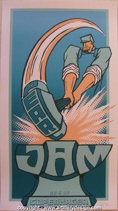 "Pearl Jam silkscreen concert poster (click image for more detail) Artist: Brad Klausen Venue: Forum Location: Copenhagen, Denmark Concert Date: 6/26/2007 Size: 13 3/8"" x 24 1/4"" Condition: Mint Notes:"