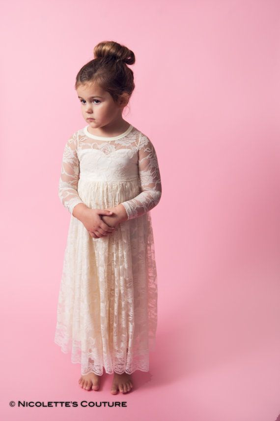 Ivory Flower Girl Lace Maxi Dress, Sash Belt set, Floor Length Lace ...