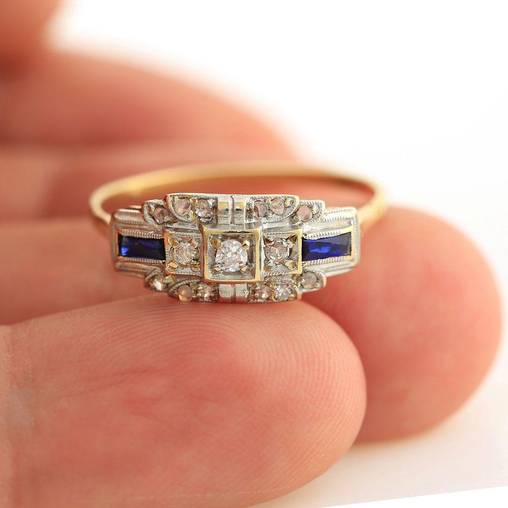 Antique Art Deco 18k yellow gold platinum topped diamond sapphire ...