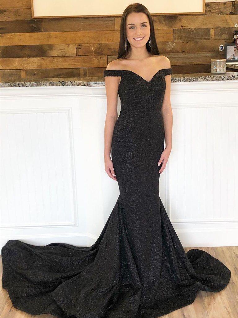 Off The Shoulder Black Mermaid Prom Dresses With Train Off The Shoulder Black Mermaid Formal Evening Dresses Black Mermaid Dress Prom Dress With Train Short Red Prom Dresses [ 1024 x 768 Pixel ]
