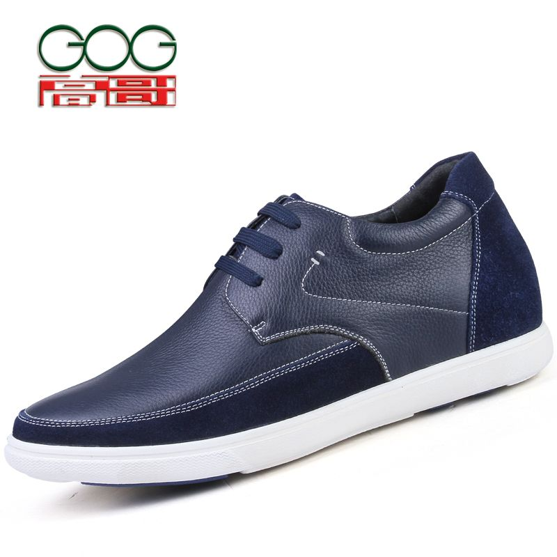 GOG Height Increase Insoles Men's Driving Loafer Leather Casual Elevator Shoes