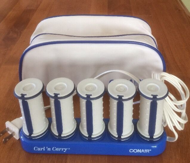 Conair Curl 'n Carry Hot Rollers Curlers - 5 Rollers with Travel Bag - No Clips #Conair