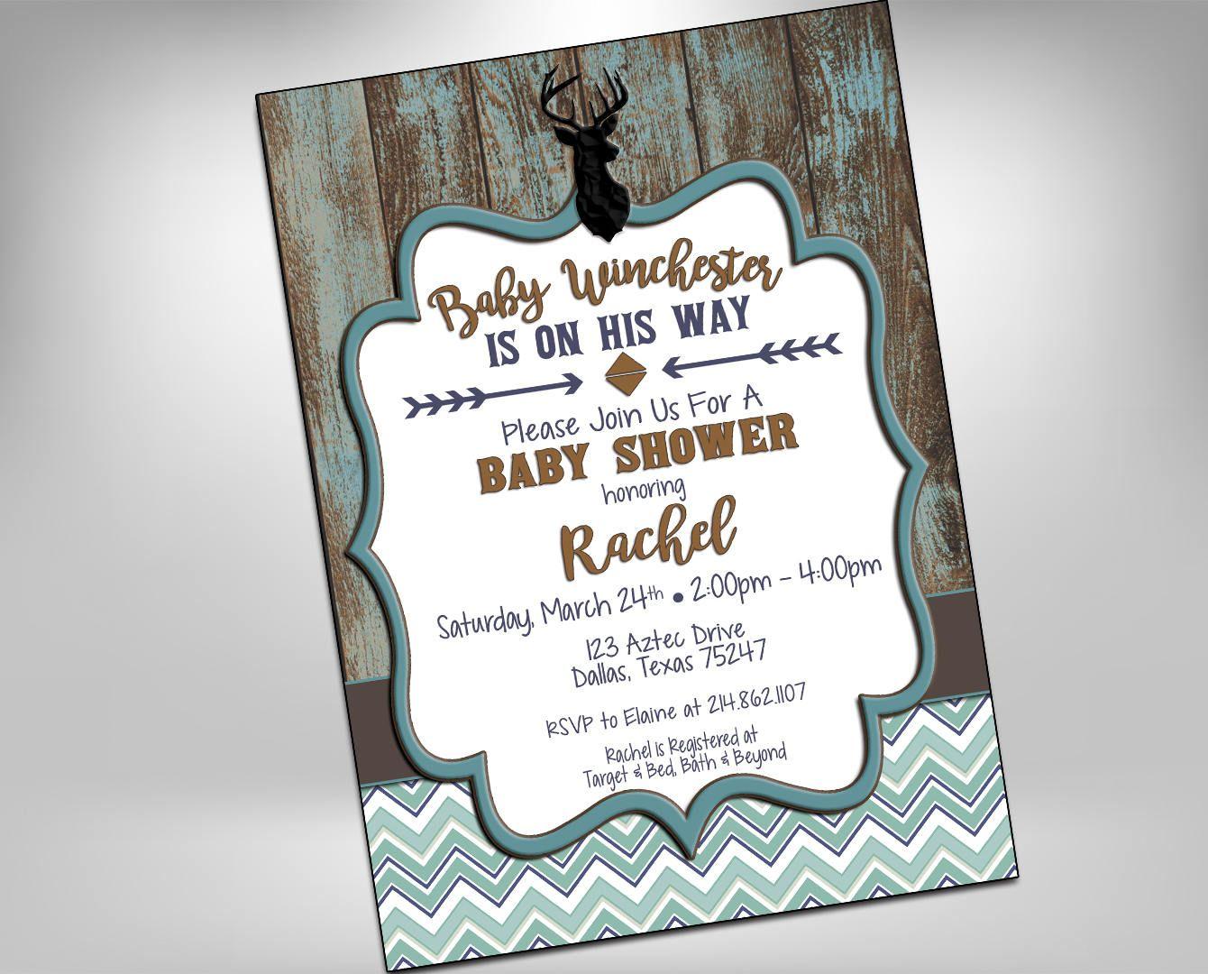 Baby Shower Invitation, Rustic Baby Boy Shower, Deer Invitation ...