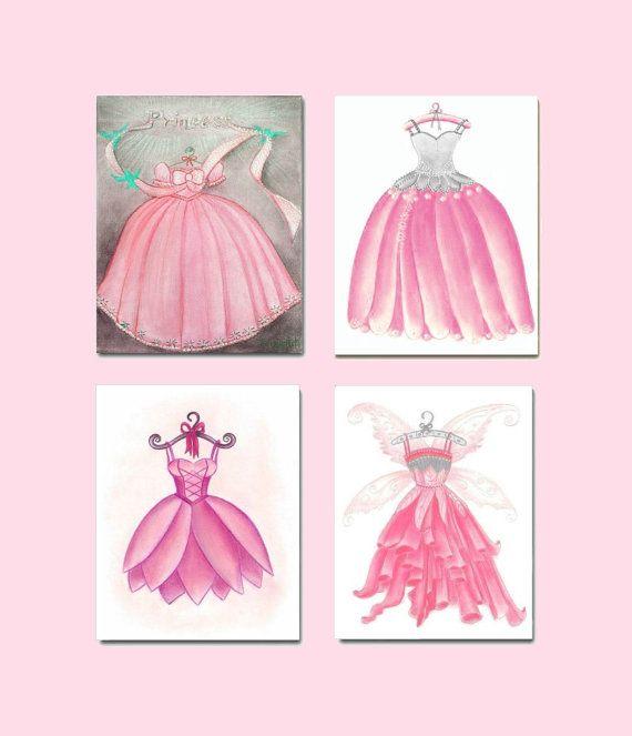Unique Baby Girl Nursery Kids Wall Art Pink Dress Fairy Princess Prints SET of Children