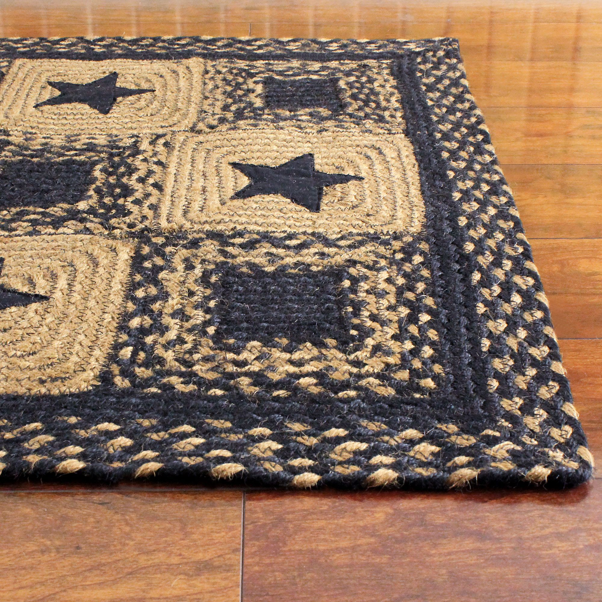 Black Country Star Jute Braided Rugs