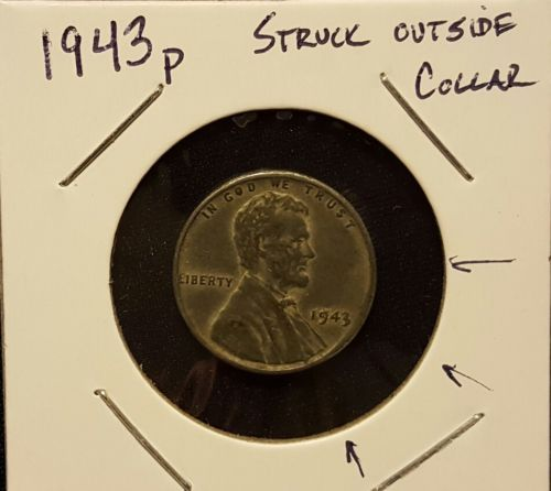Error Errorcoins 1943 P Lincoln Steel Wheat Cent Minor Struck Outside Collar Error See Pictures Error Coins The Outsiders See Picture