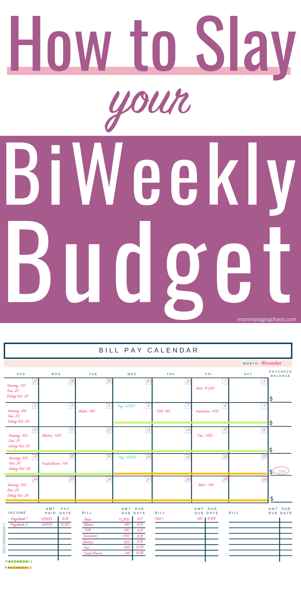 Are you struggling with how to create a monthly budget when you get paid biweekly paycheck? Learn how to organize and pay bills, manage your biweekly budget and more!  Managing Your Money | Budget | Budgeting Money | Money Tips | Biweekly Savings  #mommanagingchaos #budget #money #moneytips