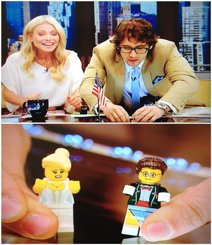 Kelly and Josh with their Legos on Live!