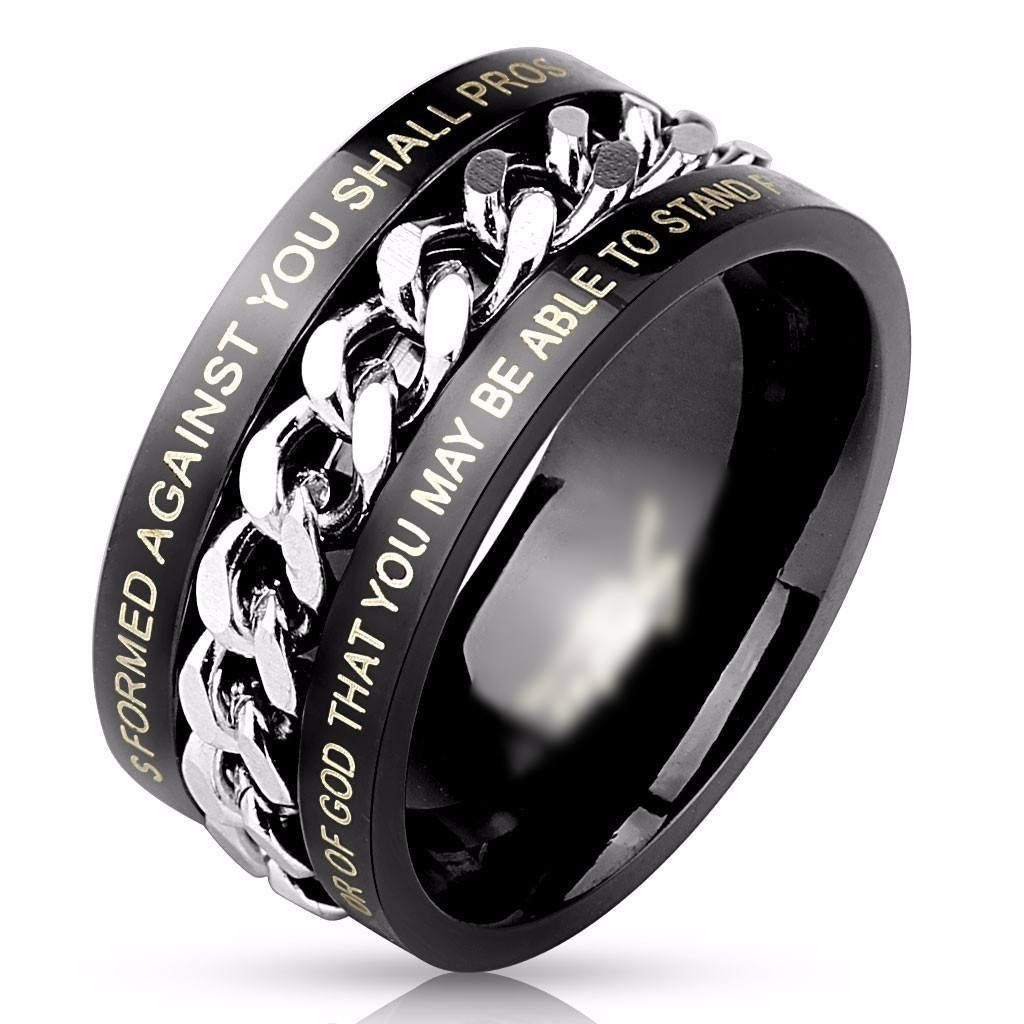 Motorcycle bike chain ring 14k black - Black Chain Bible Verse Ring