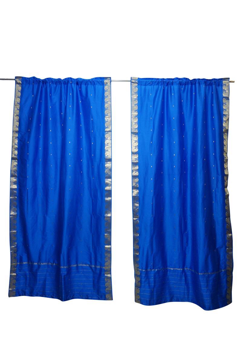 2 Blue Sari Curtain Rod Pocket Panel Home Decor Drape Bohemian