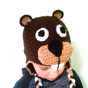 Beaver hat by We Love Cozy. Free pattern