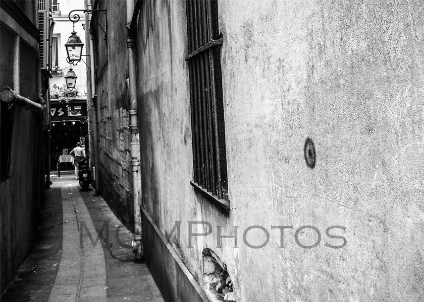 5x7 photo print french alley in black white industrial photography