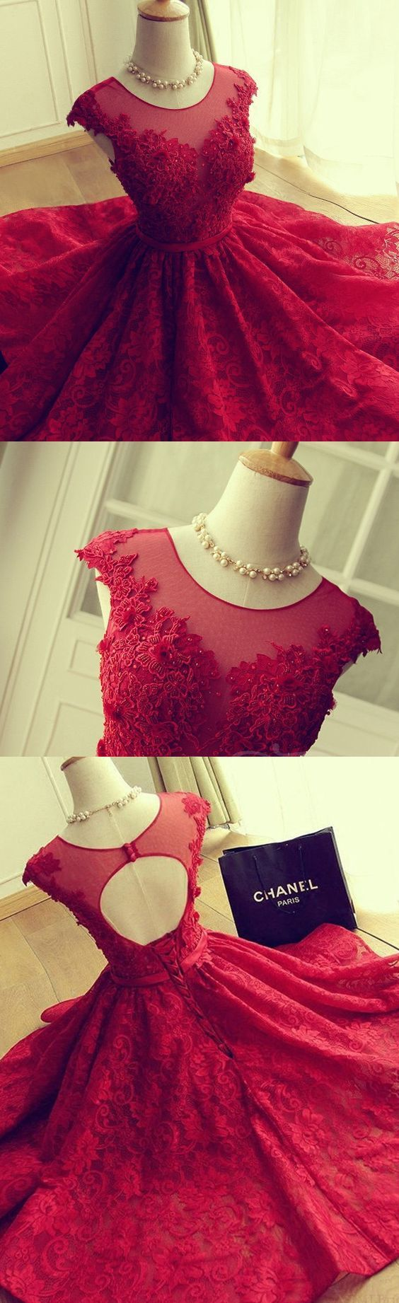 Red party dresses short prom dresses homecoming dress lace red
