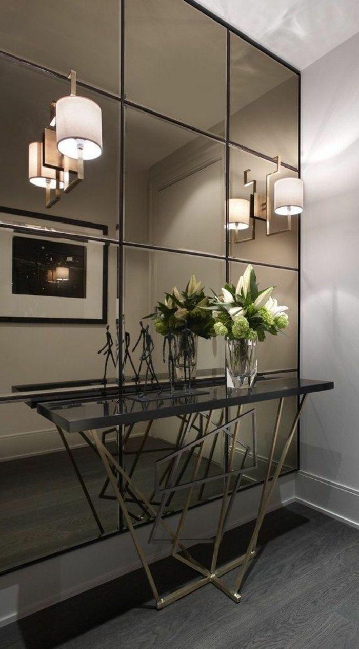 Meubles Art Deco, Grand Miroir Mural Avec Appliques Murales, Console Noire Belle Conception