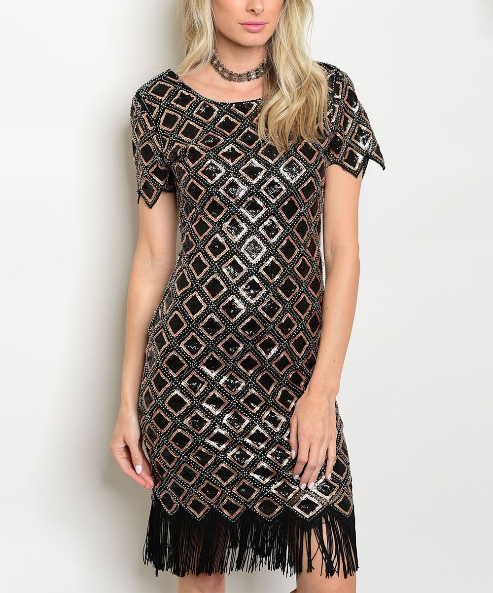 Black u gold geometric sequin fringehem sheath dress products
