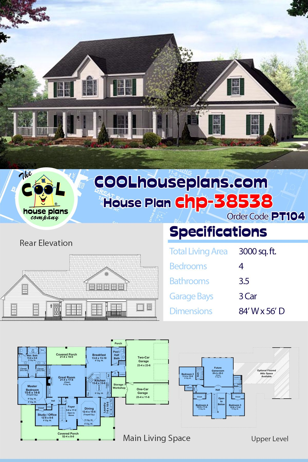 Traditional Style House Plan 59172 With 4 Bed 4 Bath 3 Car Garage Country House Plans House Plans Farmhouse House Plans