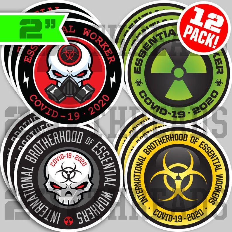 12 PACK 2 Essential Worker Hard Hat Sticker VARIETY Pack