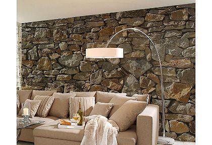 fotobehang steen motief Muur Pinterest Chesterfield - steintapete beige wohnzimmer