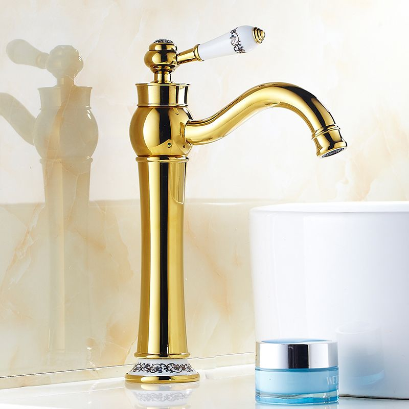 European retro gold plated water tap bathroom basin faucet hot and ...
