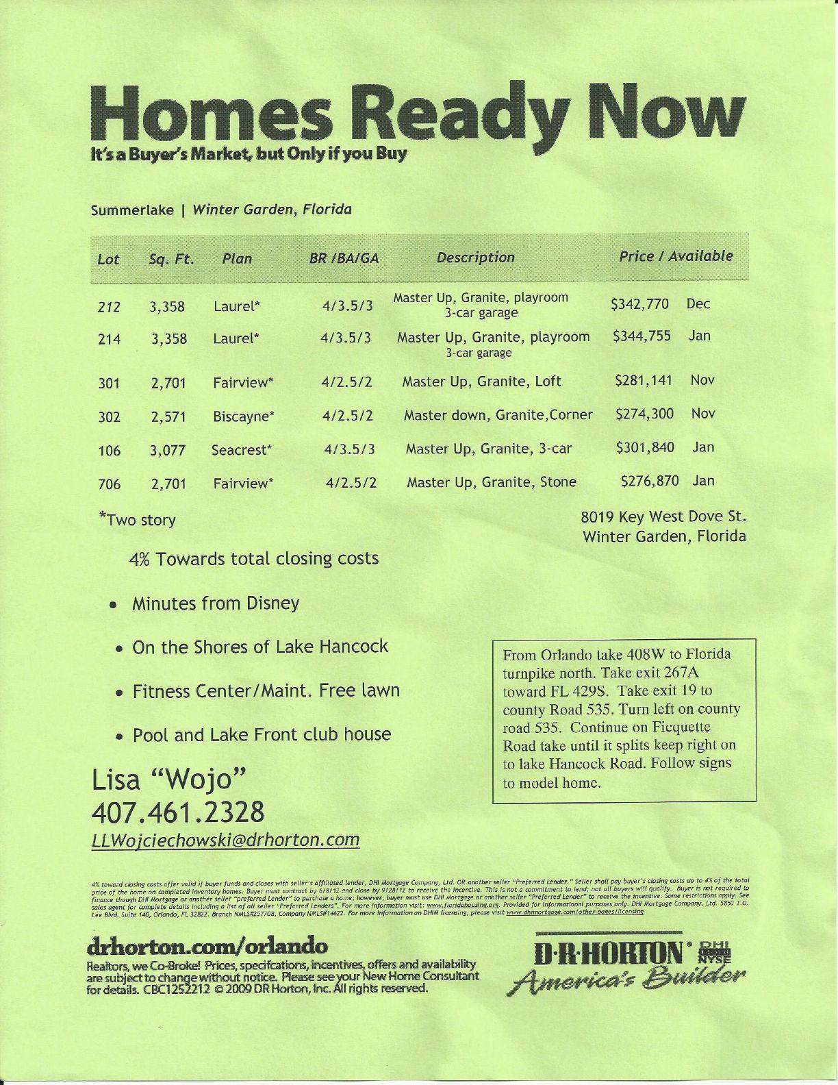 summerlake dr horton homes price list in winter garden fl