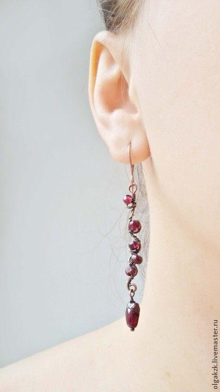 Earrings handmade.  Fair Masters - handmade earrings, a sprig of copper and pomegranate.  Handmade.