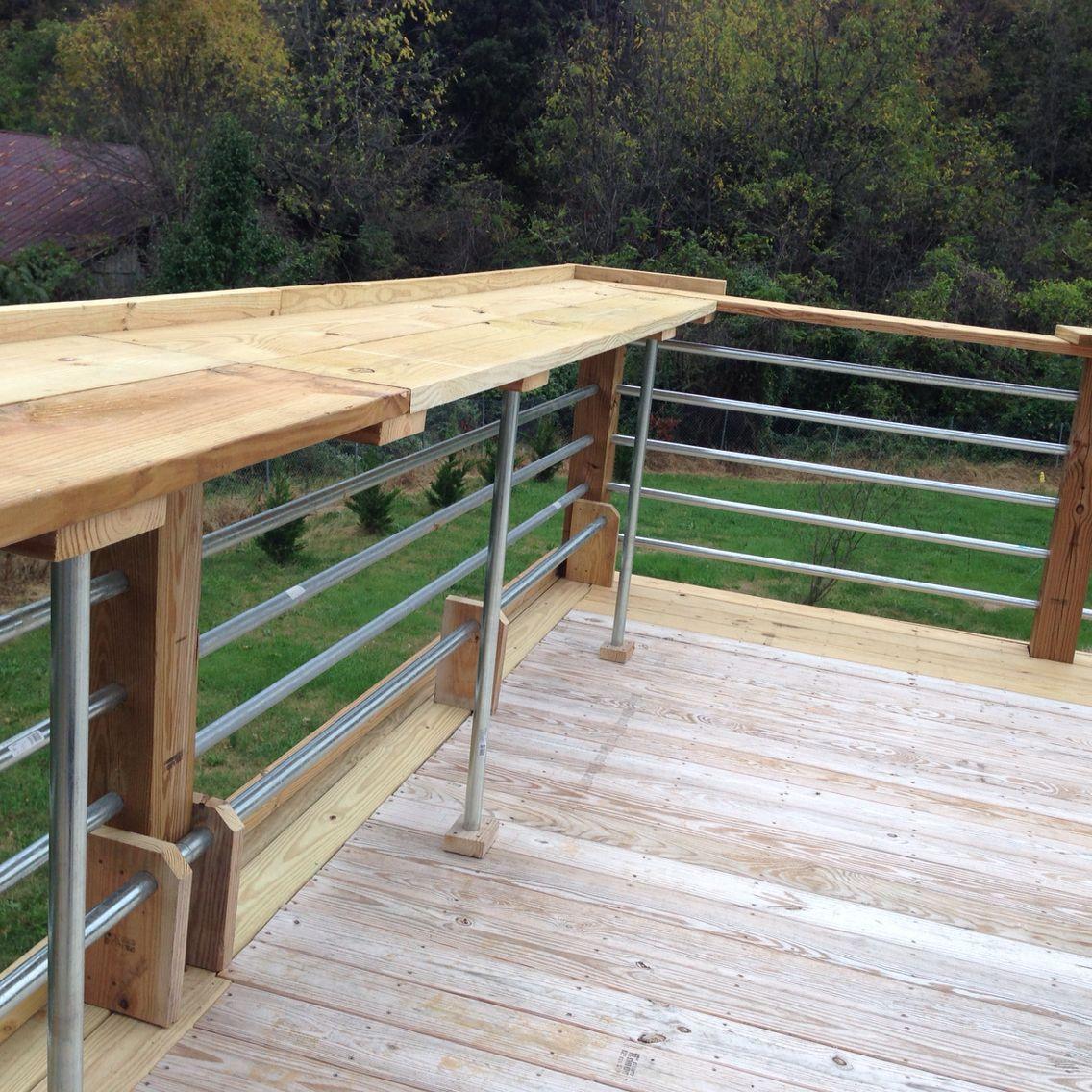 Very Modern Look Using 1 1 4 Conduit Railing Metal Deck Railing