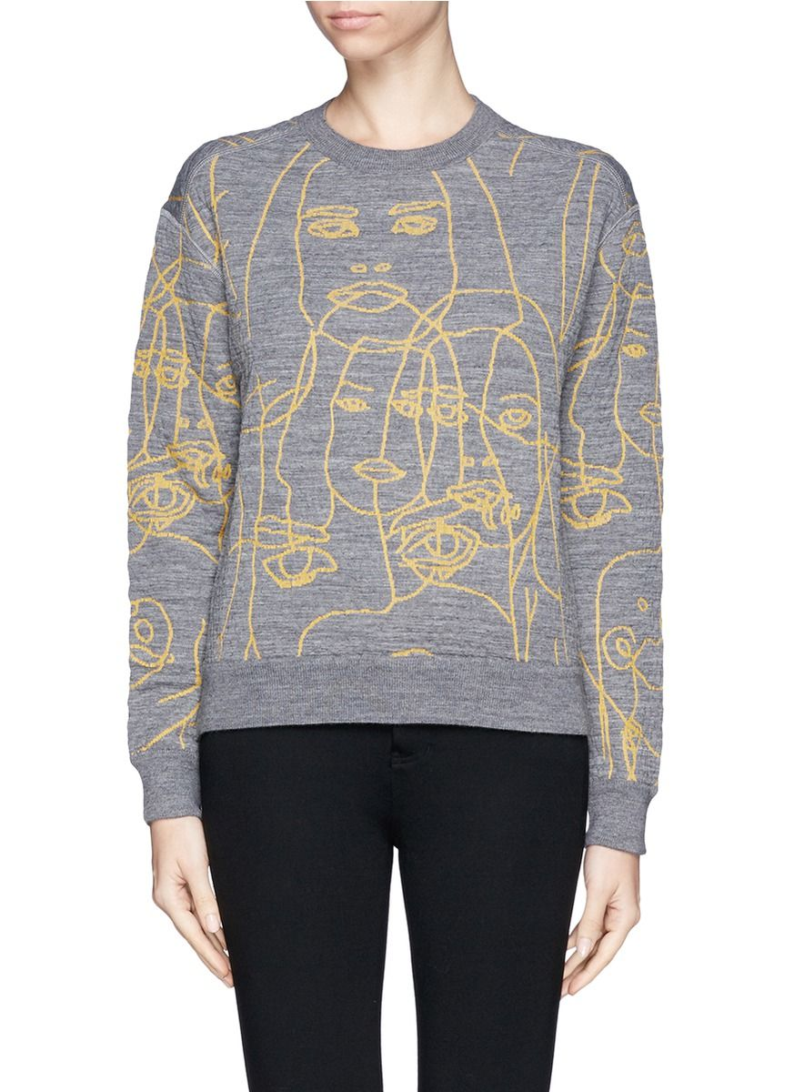 STELLA MCCARTNEY Quilted face embroider sweater Lane