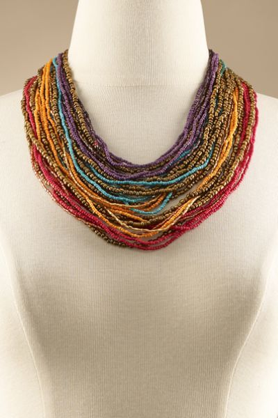 With extravagant Layers Of Colors, this namesake necklace is a chic collar style - perfect for a pop of color with your neutral tops.