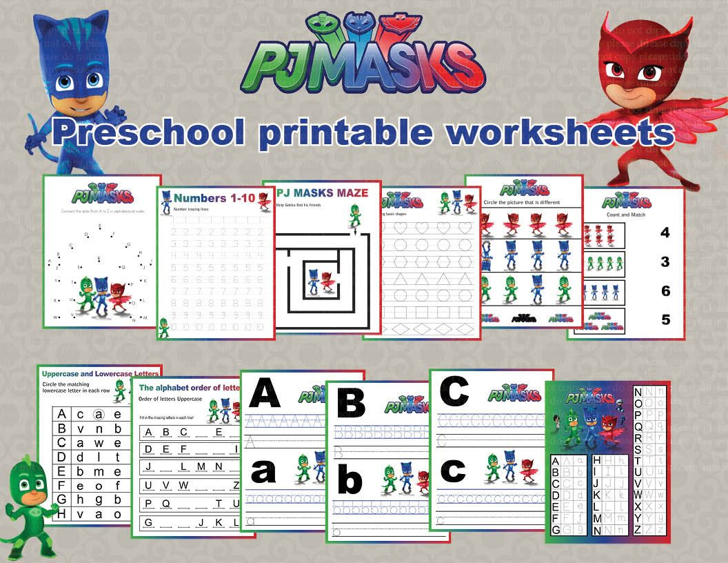 Instand DL - PJ Masks Preschool printable worksheets package ...