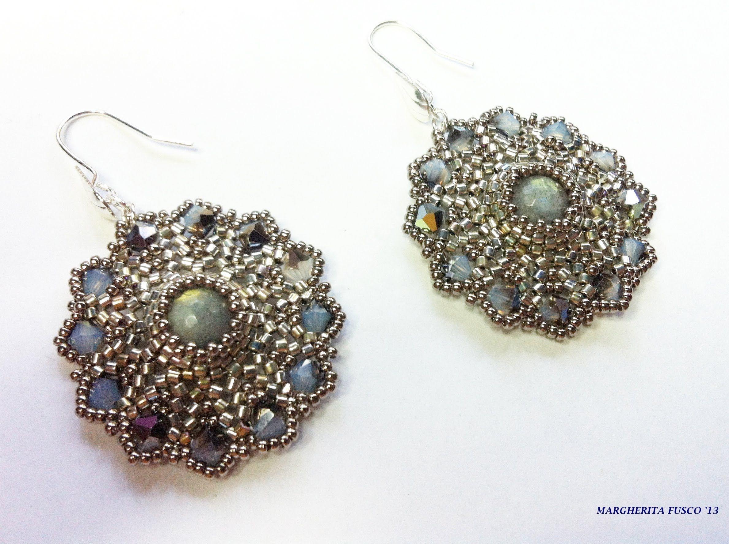 "Tutorial perline, orecchini ""Mini Eros"" con delica rocailles e perle  pe... - flotte med perle i midten  ørenringe - skal laves"