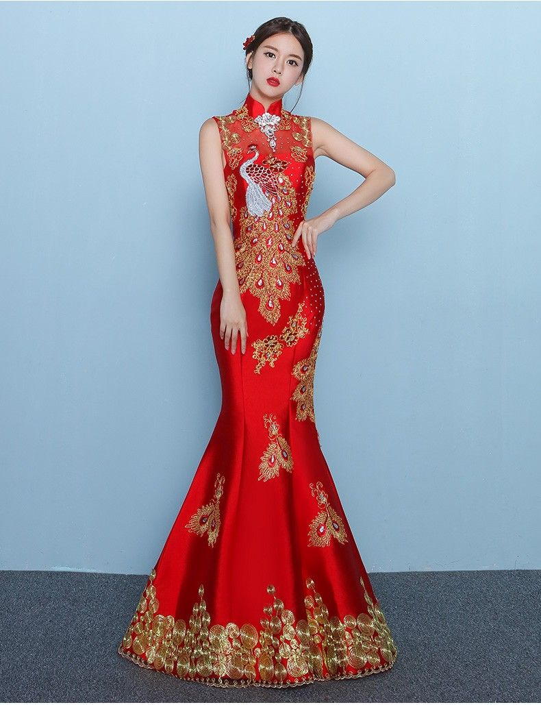 Red Chinese Slim wedding dress long paragraph embroidered evening ...