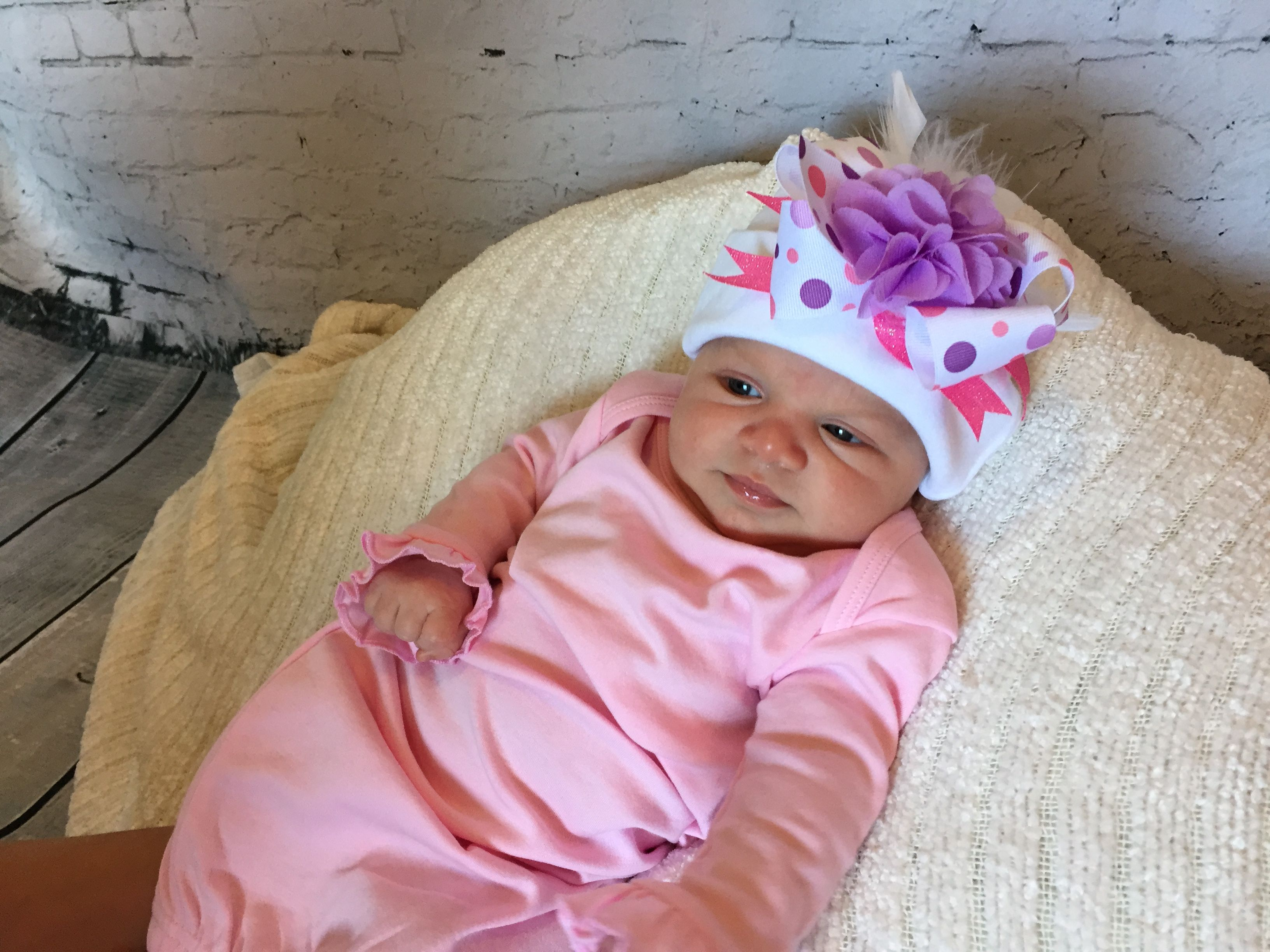Pink Ruffled Gown with Matching Hat