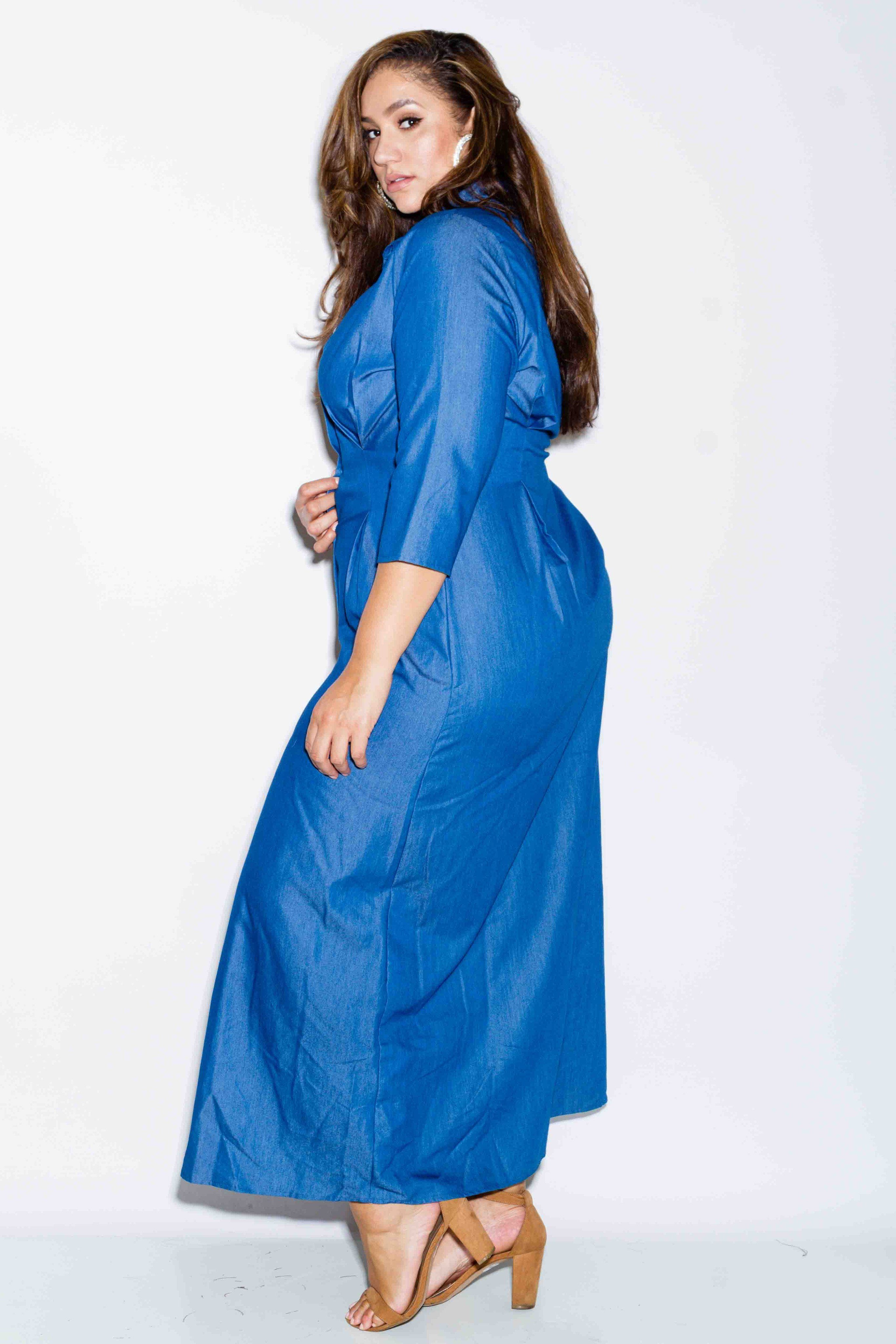 Plus Size Maxi Chambray Shirt Dress Erica Lauren Mcneill