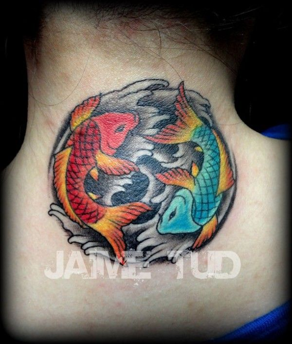 Yin yang coi tattoo smaller than this on my right foot no for Koi fish yin yang tattoo