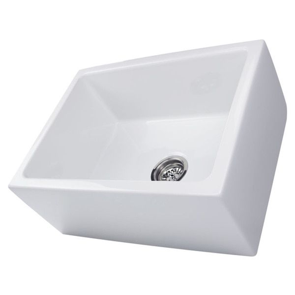 Highpoint Collection 24 Inch Single Bowl Reversible Fireclay Farmhouse Kitchen Sink Farmhouse Sink Kitchen Sink Single Bowl Kitchen Sink