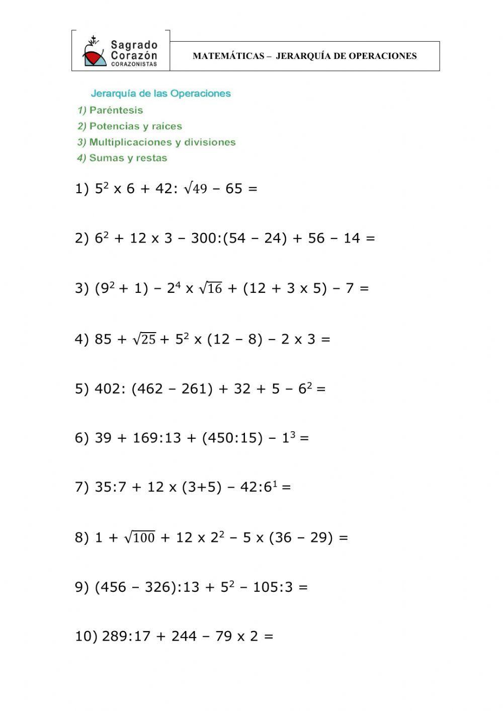 Operaciones Combinadas Ficha Interactiva Y Descargable Puedes Hacer Los Ejercicios Onlin Jerarquia De Operaciones Enseñar Matemáticas Lecciones De Matemáticas