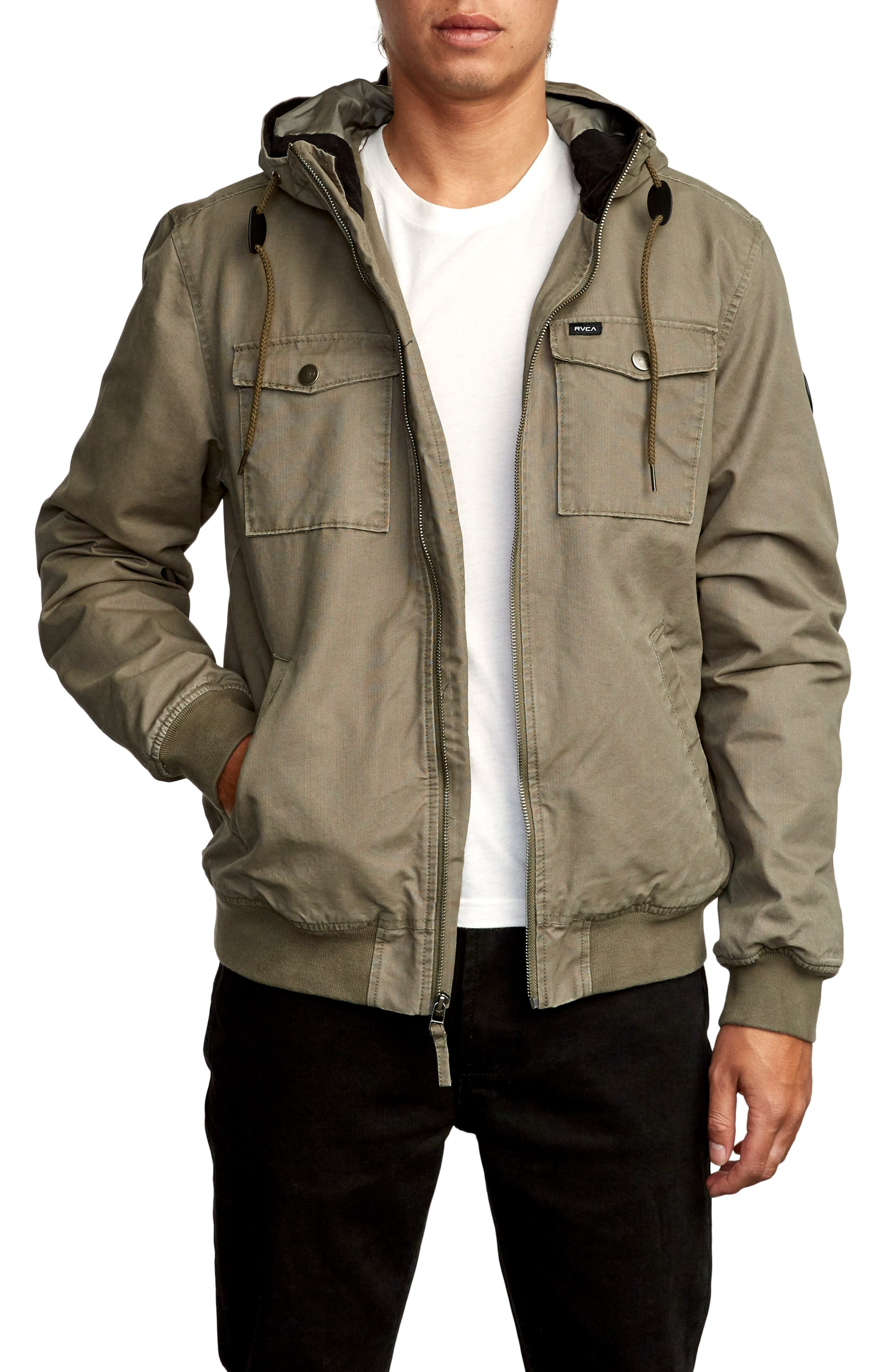 Rvca Hooded Bomber Iii Waterproof Jacket Nordstrom Waterproof Jacket Jackets Cotton Jacket [ 4048 x 2640 Pixel ]