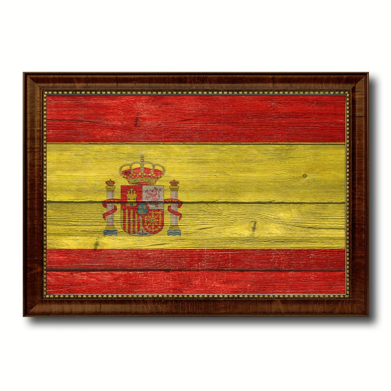 Spain Country Flag Texture Canvas Print with Brown Custom Picture ...