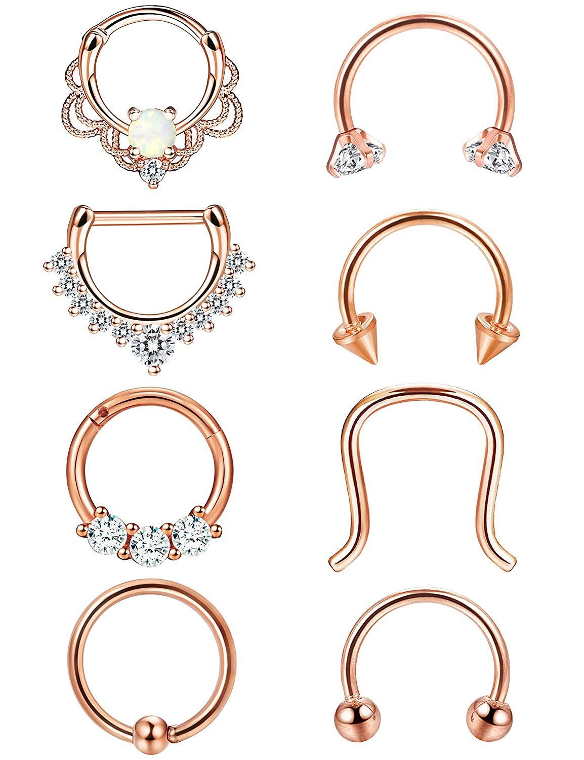 Orazio 8pcs 16g 316l Stainless Steel Septum Hoop Nose Ring Horseshoe Rings Daith Toe Rings Body Chains An Nose Rings Hoop Daith Piercing Jewelry Tragus Jewelry