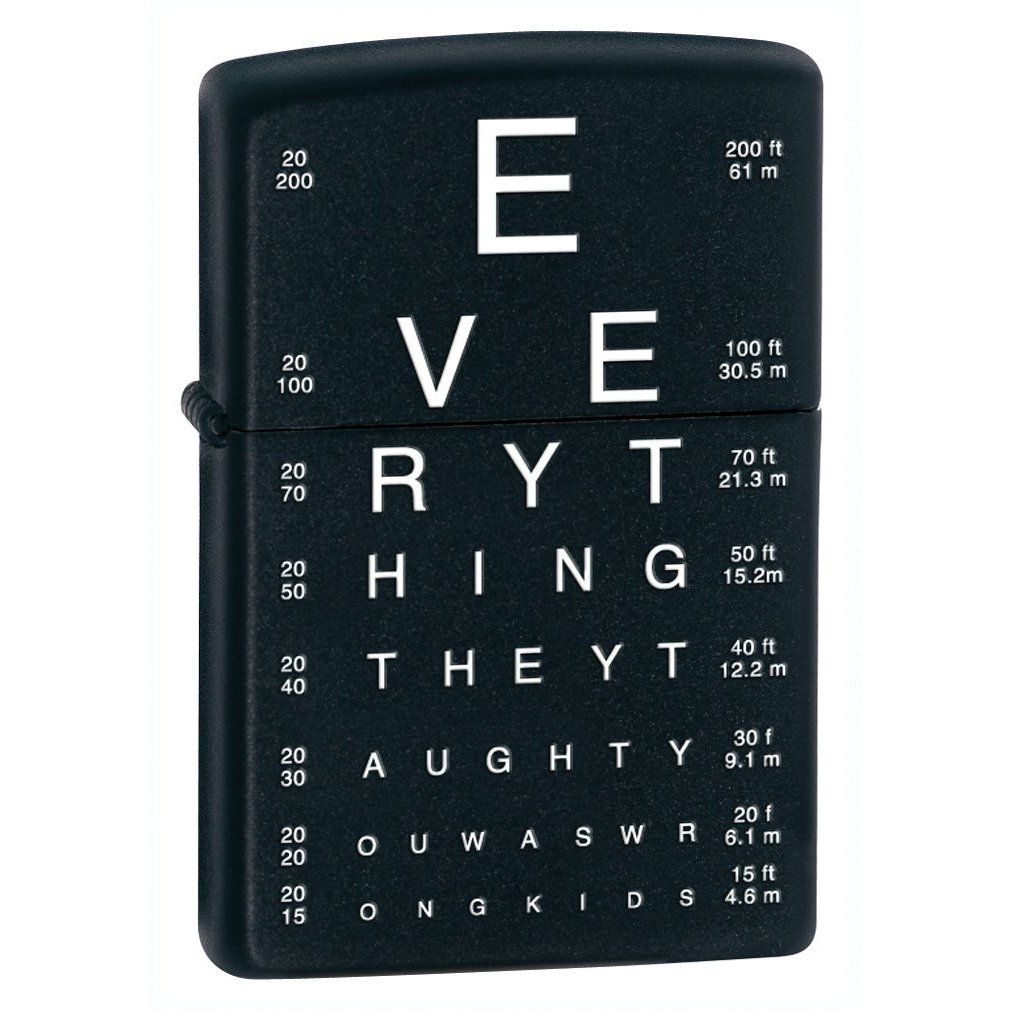Zippo eye chart pocket lighter everything they taught you was zippo eye chart pocket lighter everything they taught you was wrong kids lol nvjuhfo Image collections