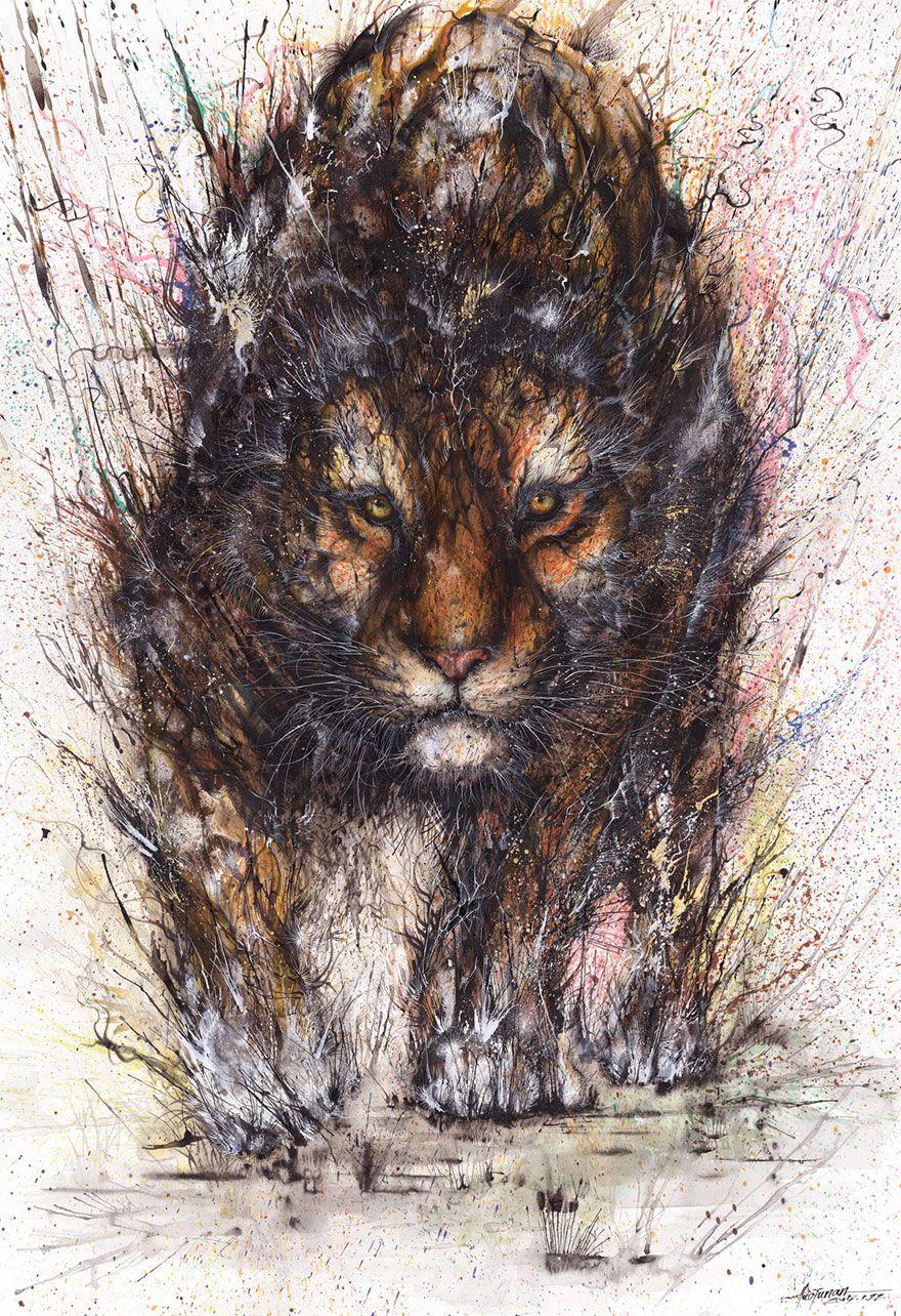 Splattered Ink Animal Portraits By Chinese Artist Hua Tunan Animal Paintings Splatter Art Animal Art