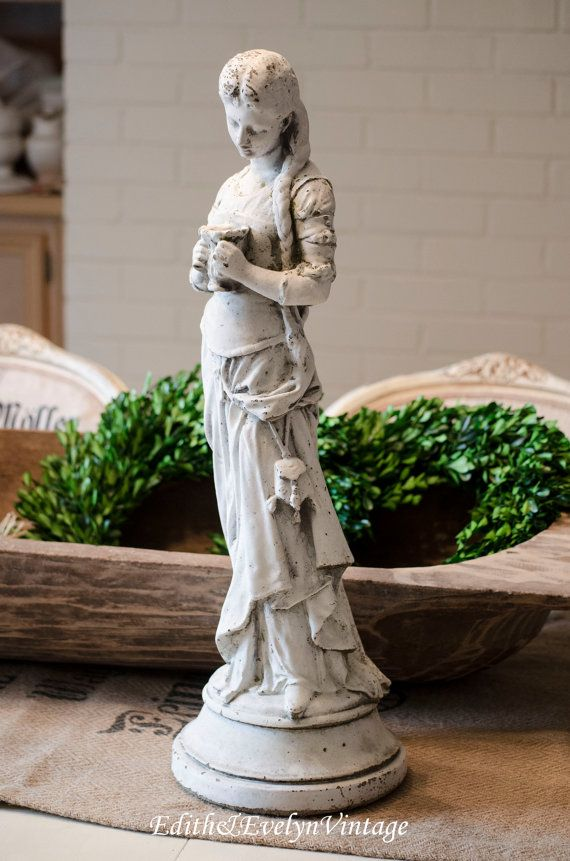 Vintage French Maiden Statue Hip Moreau White Cement Garden