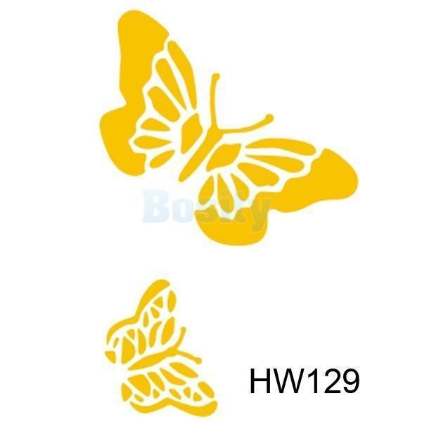 Wall Painting Stencil 2 Butterflies Template Plastic Mural Home ...