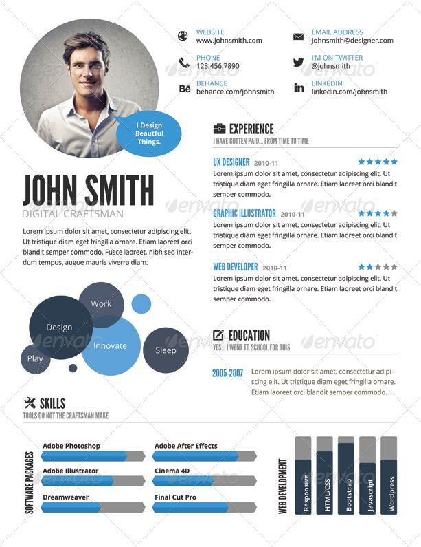 InfoGraphic Style Resume Template | GraphicRiver Más