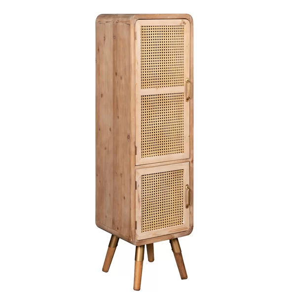 Tall Accent Cabinet Brings Modern Vintage Vibes Home And Is Dressed Up In Natural Caned Doors And Has Three Shelves Insi In 2020 Accent Doors Accent Cabinet Furniture