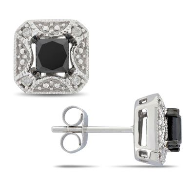 Black And White Diamond Stud Earrings In 10k Gold