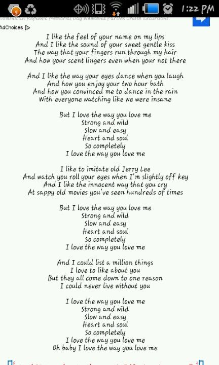 I Love The Way You Love Me Everyday And Every Night Me Too Lyrics Country Lyrics No One Loves Me