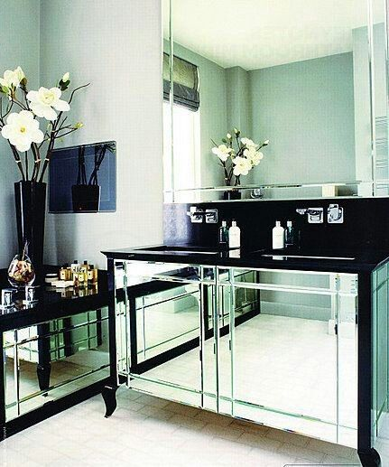 Glass vanity | Mirrored furniture, Furniture, Home decor